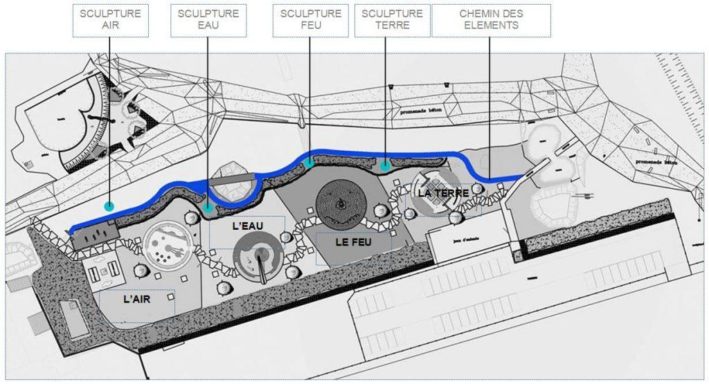 Plan d'implantation des sculptures de Pierre Luu au jardin des traces